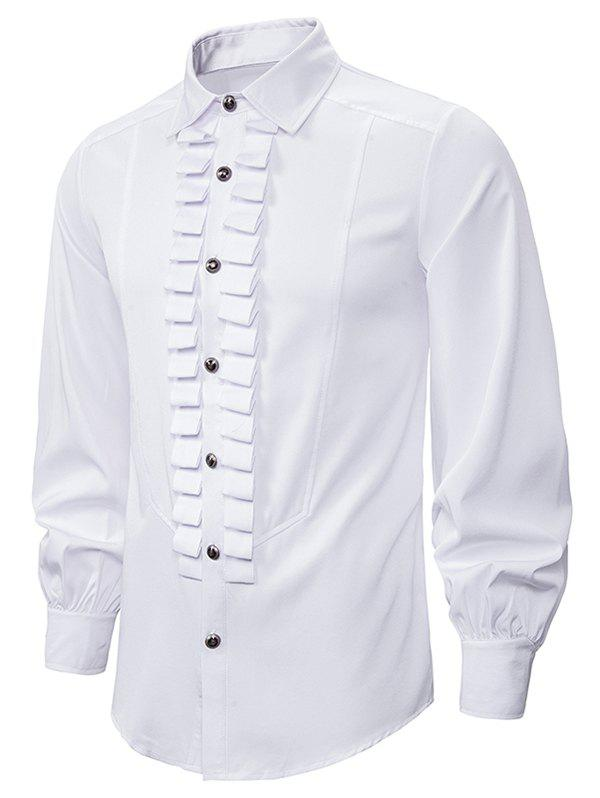 Front Ruched Button Up Gothic Shirt - WHITE 2XL