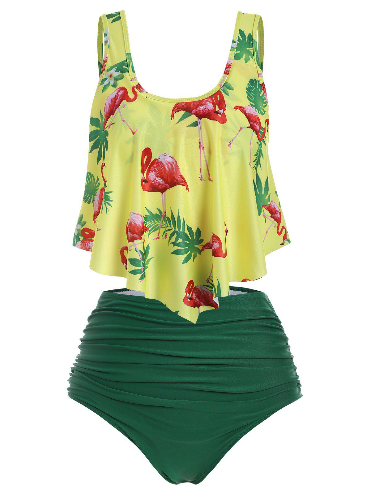 Flamingo Flounce High Waisted Ruched Tankini Swimwear - DEEP GREEN S