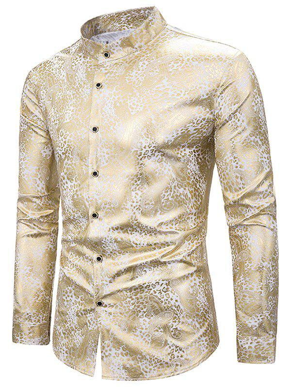Gilding Tiny Paisley Stand Collar Button Up Shirt - WHITE 2XL
