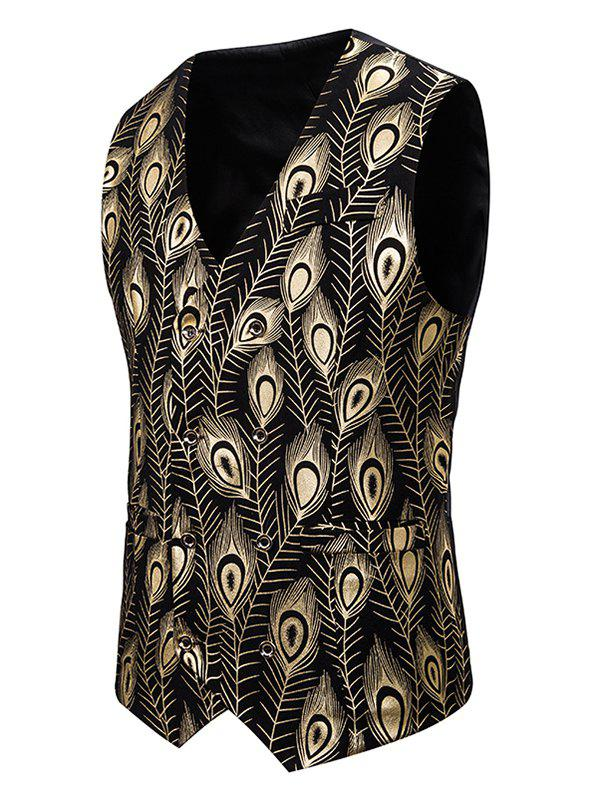 Gilding Peacock Feathers Double Breasted Casual Vest - GOLD 2XL