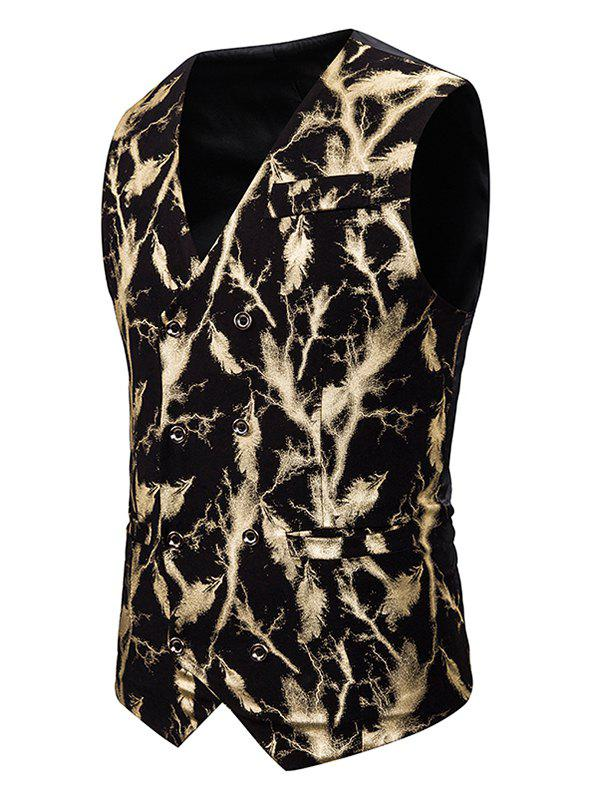 Gliding Lightning Print Double Breasted Casual Vest - GOLD M