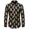 Gilding Pineapple Pattern Stand Collar Button Up Shirt - GOLD 2XL