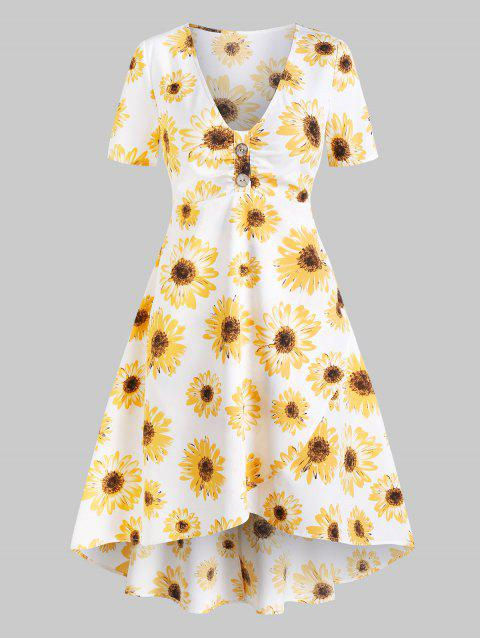 Sunflower Print Mock Button Overlap Dress