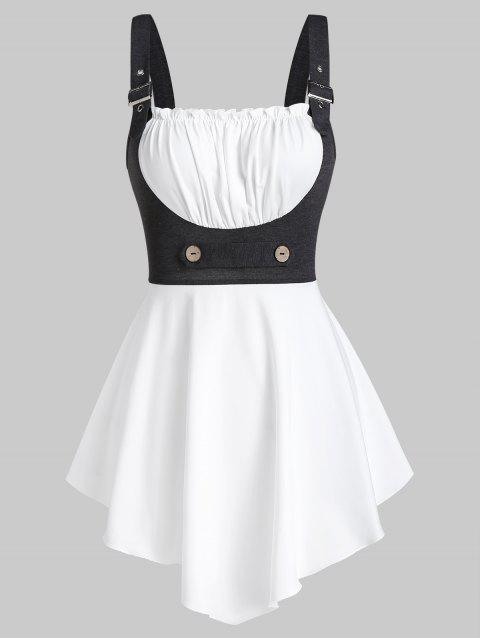 Buckle Strap Contrast Pointed Hem Tank Top