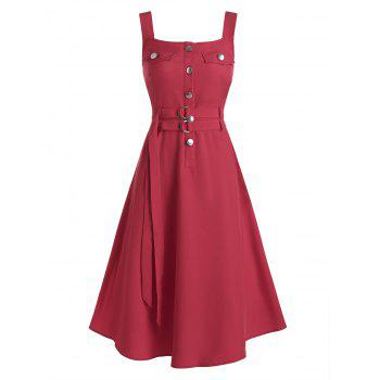 Button Belted High Waist Cargo Dress, DRESSLILY  - buy with discount