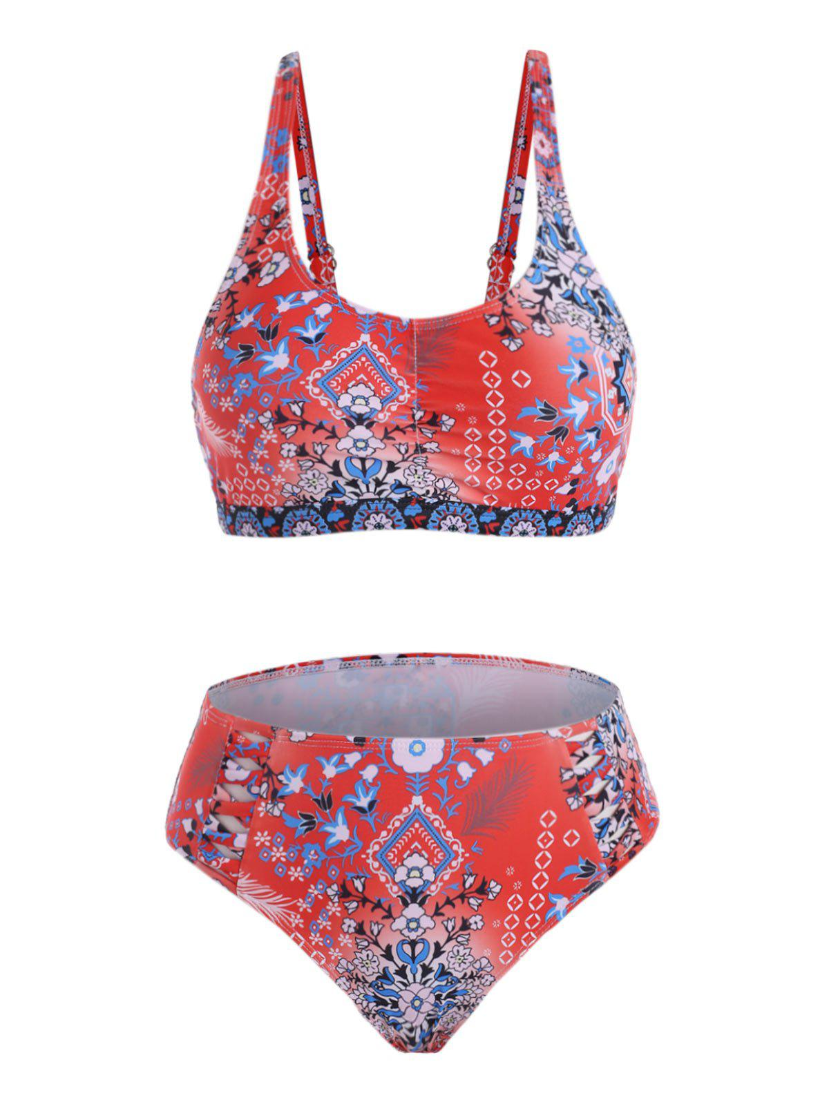Floral Ruched Criss Cross Bikini Swimwear - RED XL
