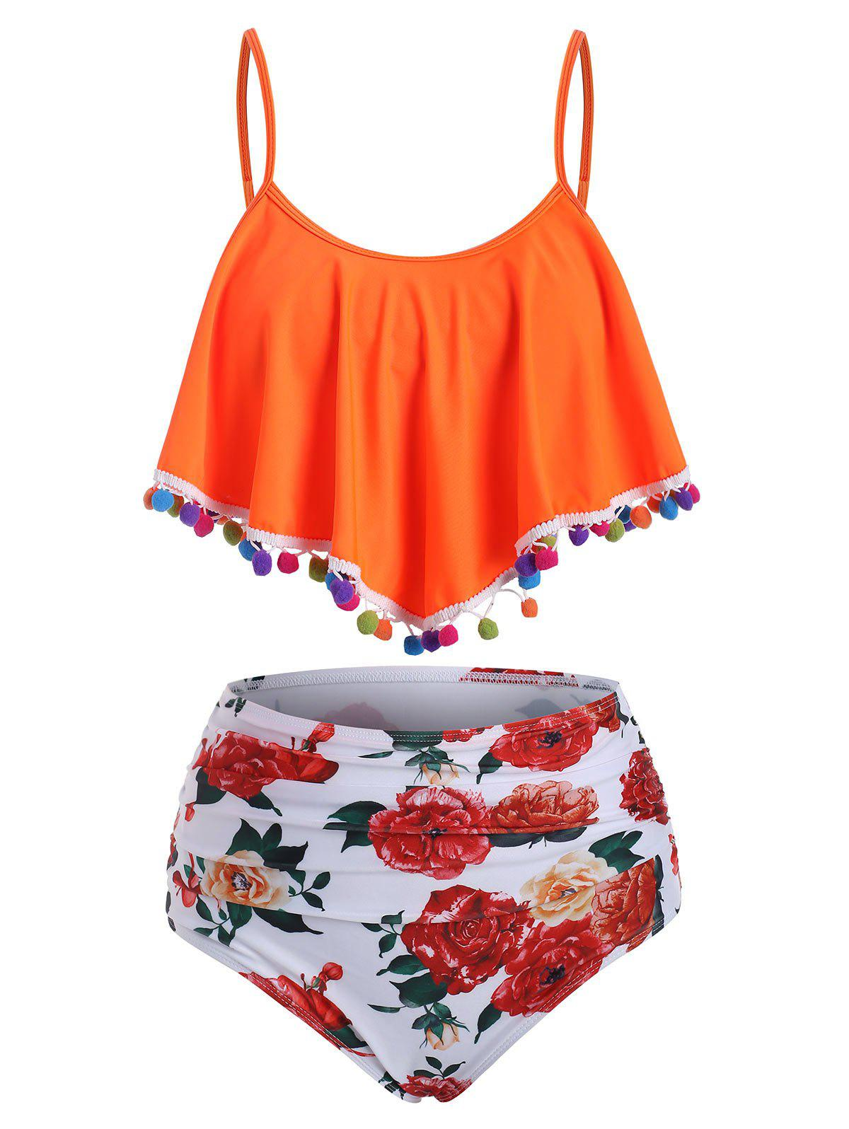 Flounce Pompom Trim Ruched Print Tankini Swimwear - ORANGE 2XL