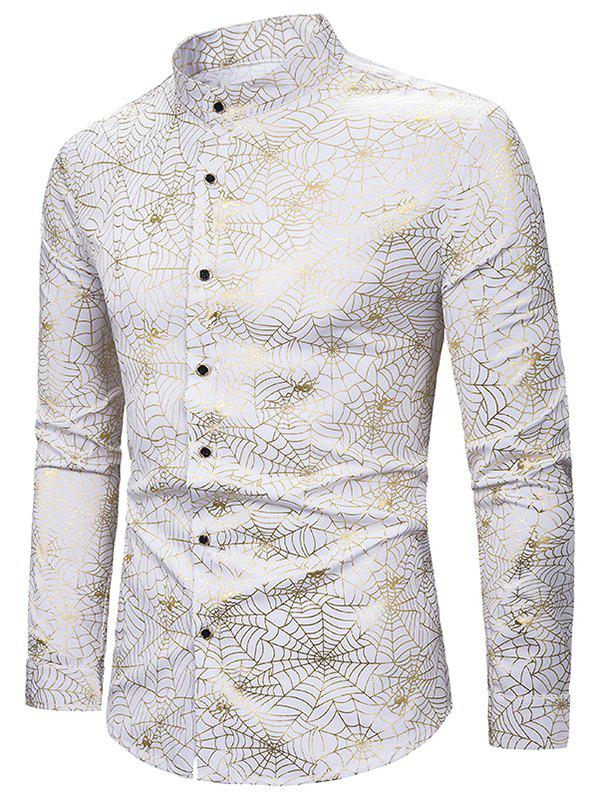 Gilding Spider Web Pattern Stand Collar Button Up Shirt - WHITE 2XL