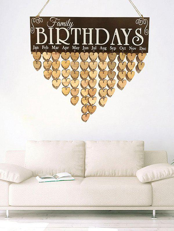 Heart Wall Hanging Family Birthday Wooden Calendar - multicolor A