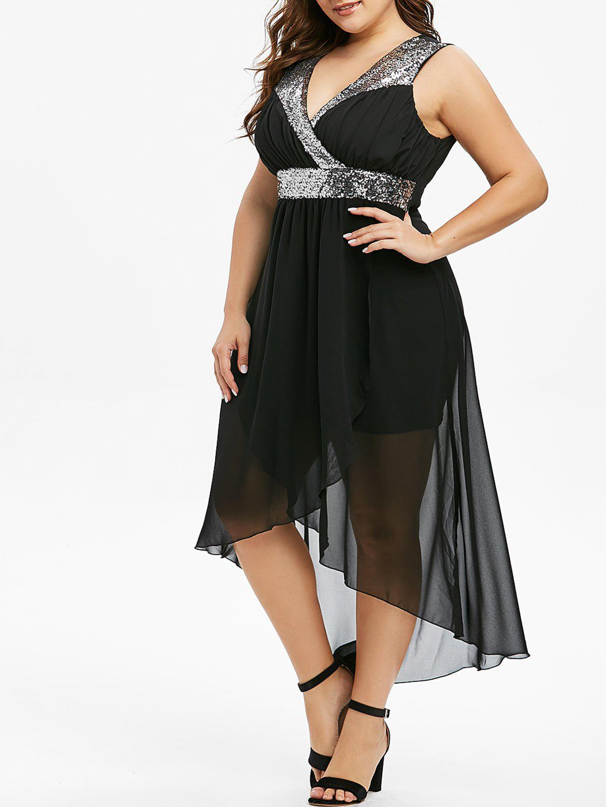 Plus Size Sequins Splicing High Low Party Dress - BLACK 5X