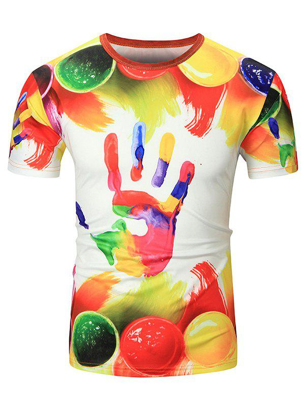 Colorful Handprint Short Sleeves T-shirt - multicolor A XS