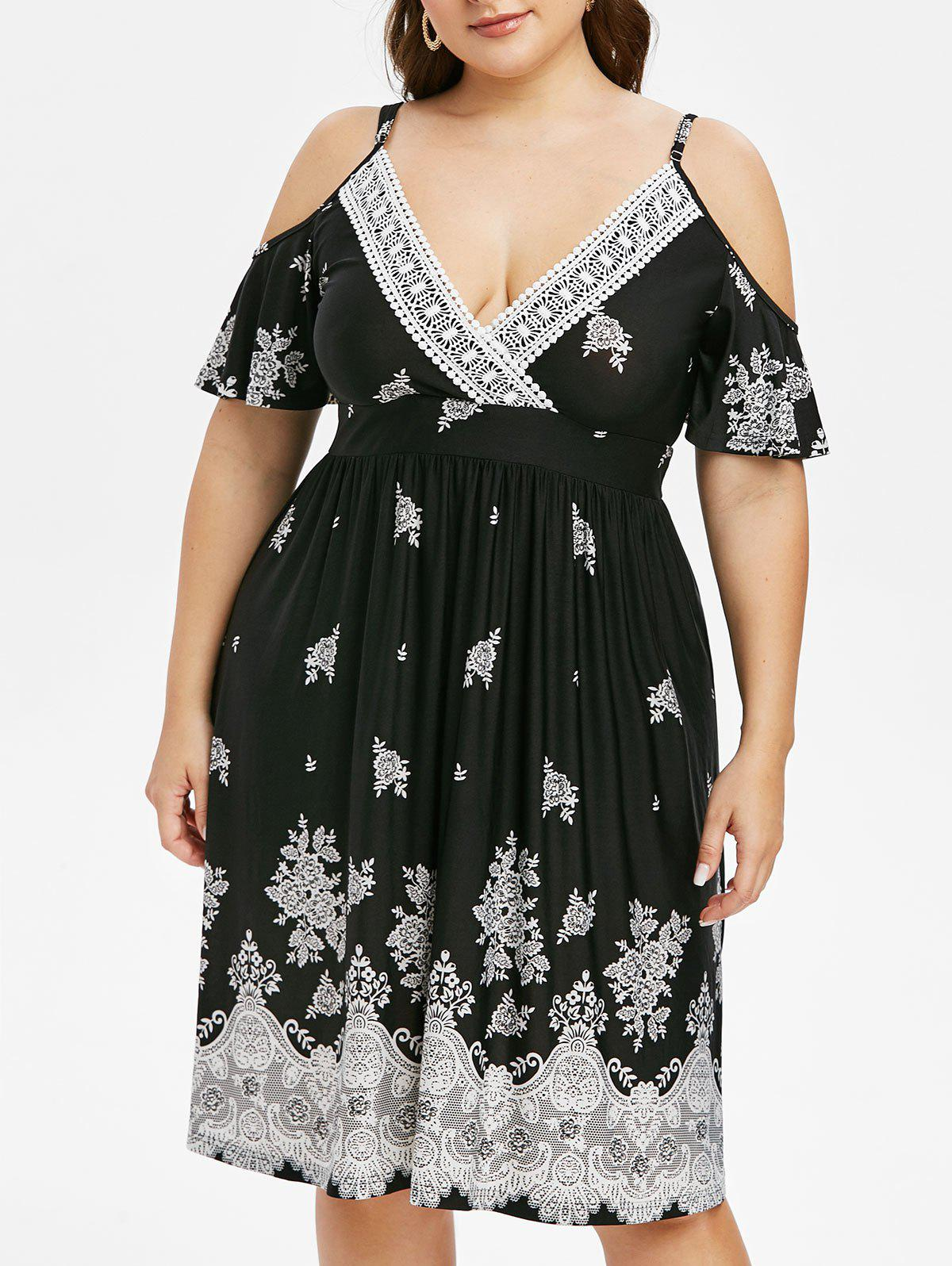 Plus Size Open Shoulder Ethnic Print Dress - BLACK L
