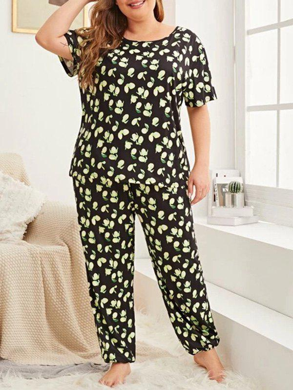 Lemon Print Plus Size Pajama Set - BLACK 1X