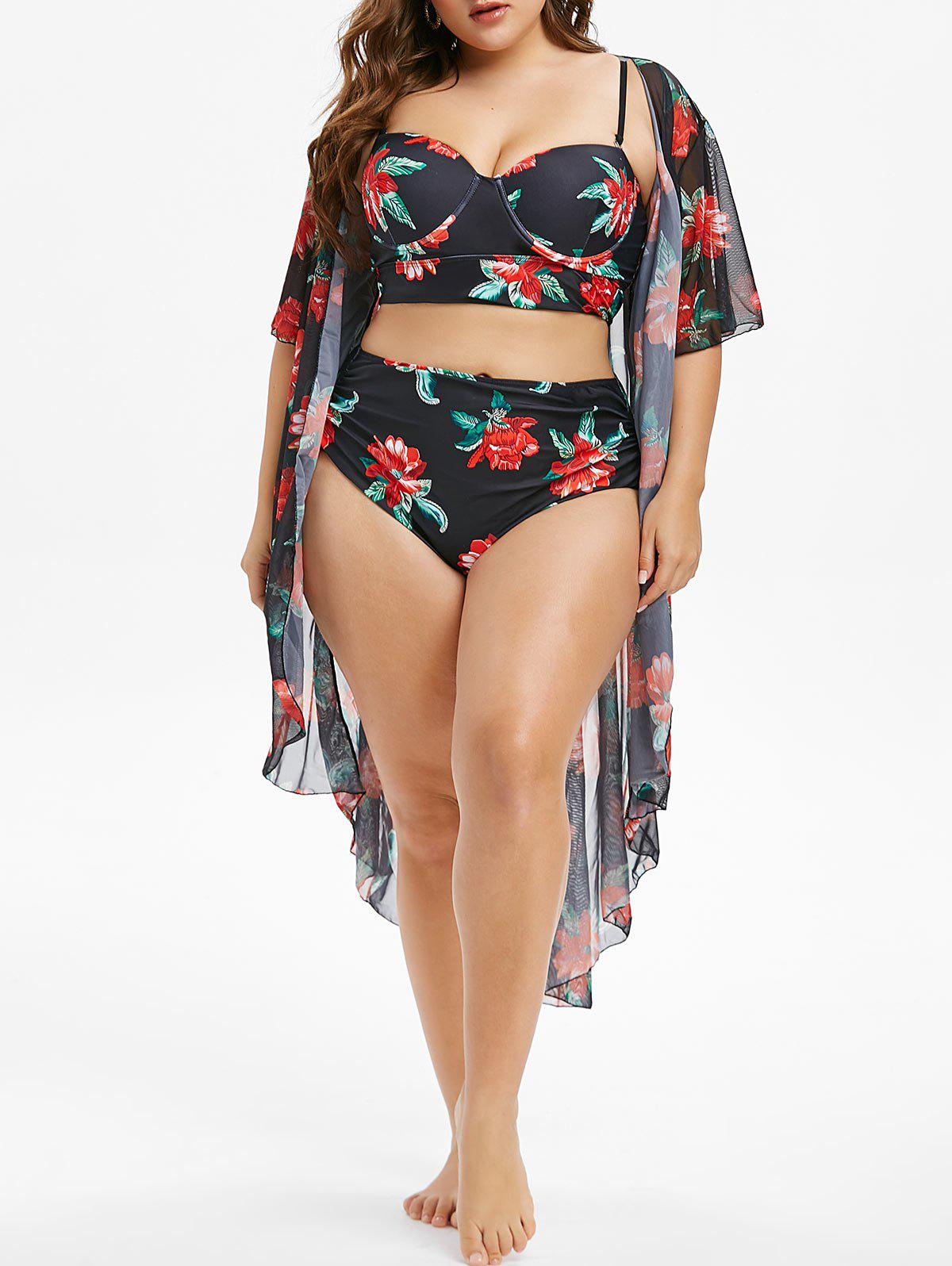 Plus Size Floral Print Underwire Tankini Swimwear With Cover Up - BLACK 2X