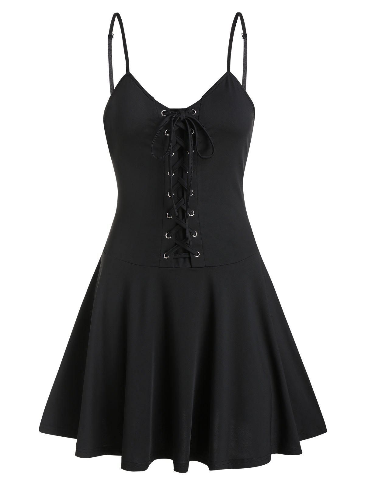 Lace-up Fit And Flare Slip Dress - BLACK L