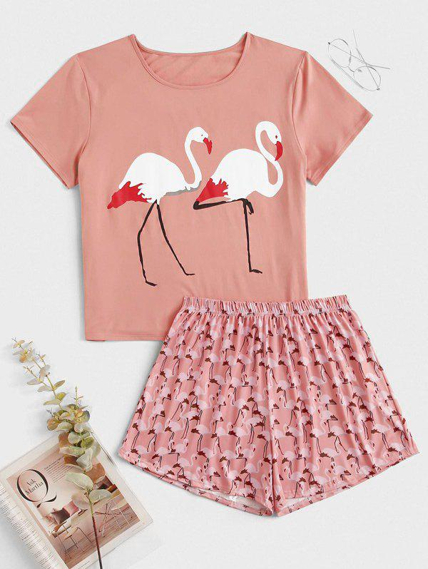 Flamingo Print Plus Size Short Pajama Set - PINK 3X