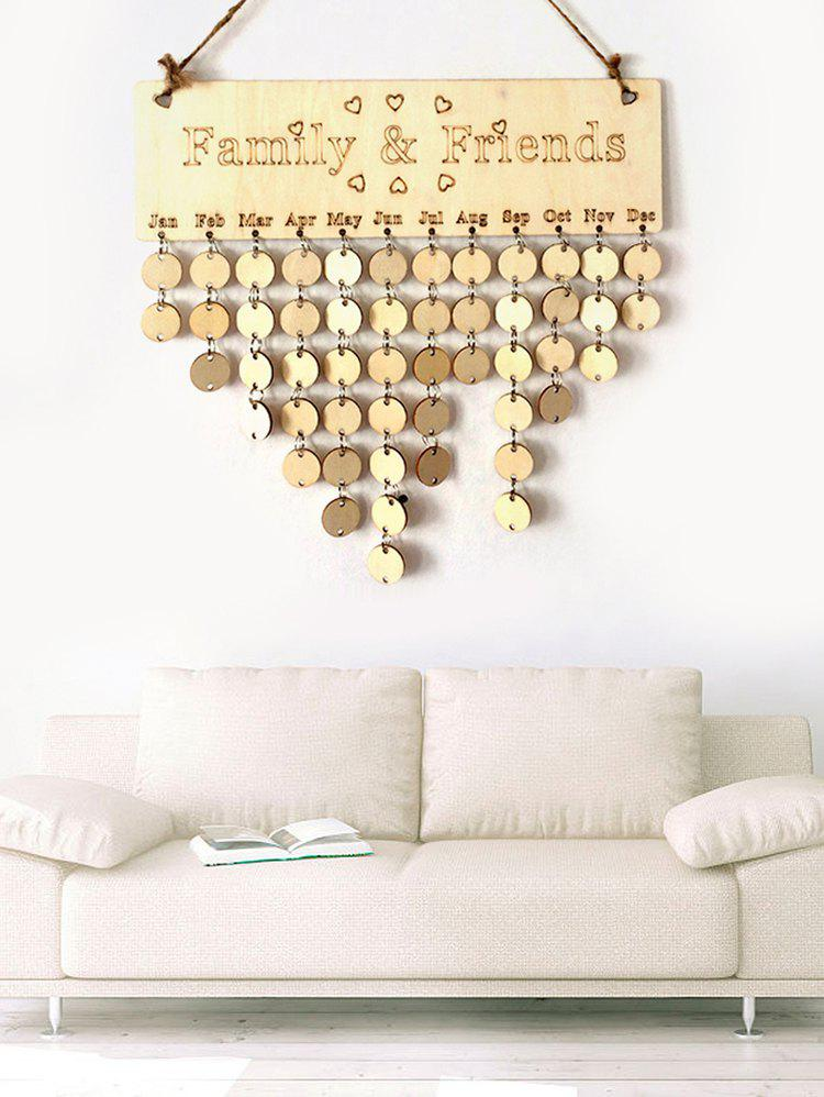 Family and Friend DIY Wooden Birthday Calendar Reminder Board - multicolor A