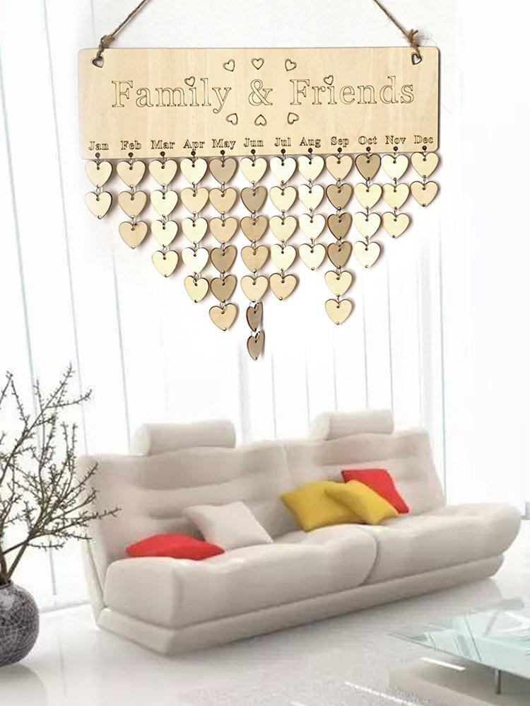 Family and Friend DIY Wooden Birthday Calendar Reminder Board - multicolor B