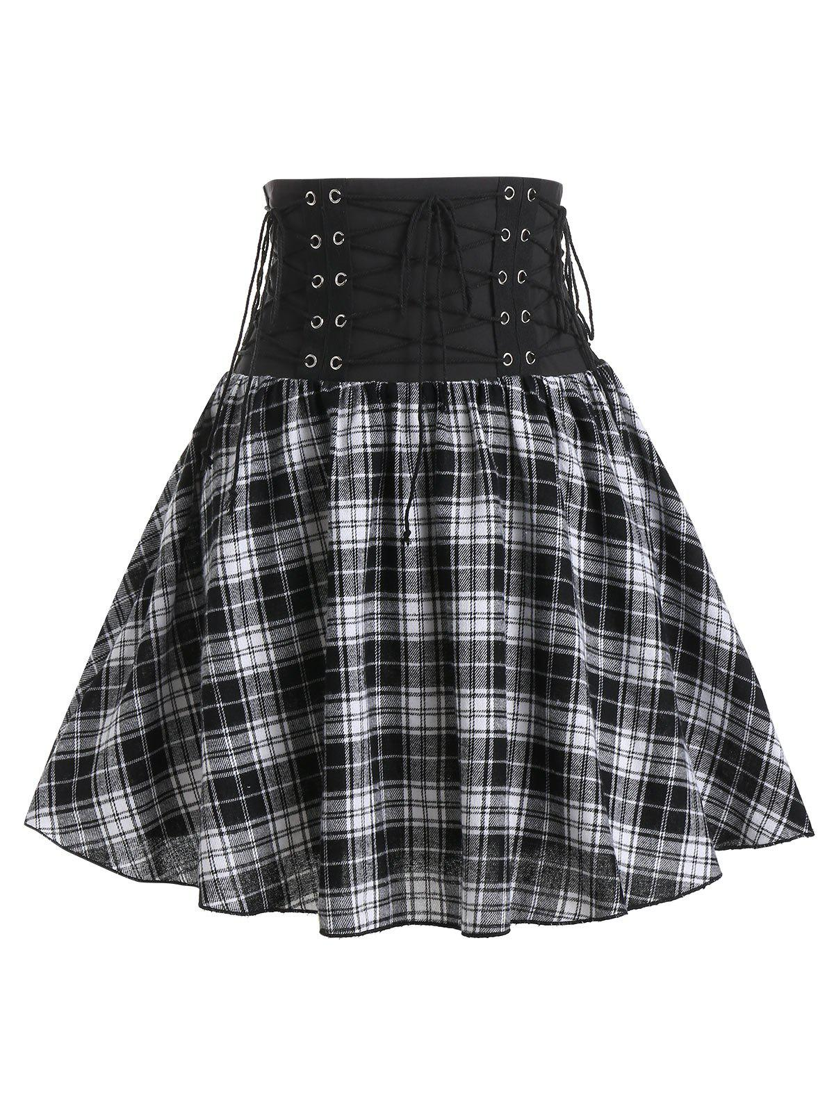 Plaid Print Lace-up High Waisted Skirt - BLACK M