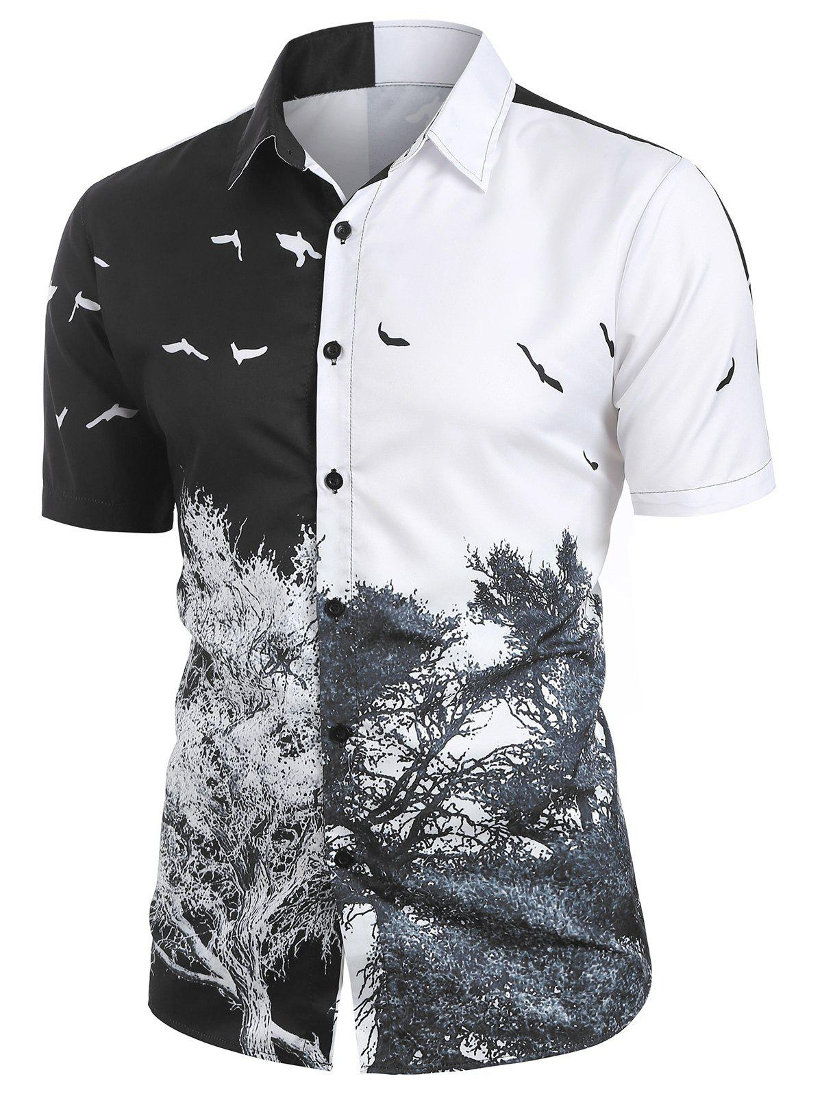 Tree and Bird Printed Button Up Shirt - multicolor 2XL