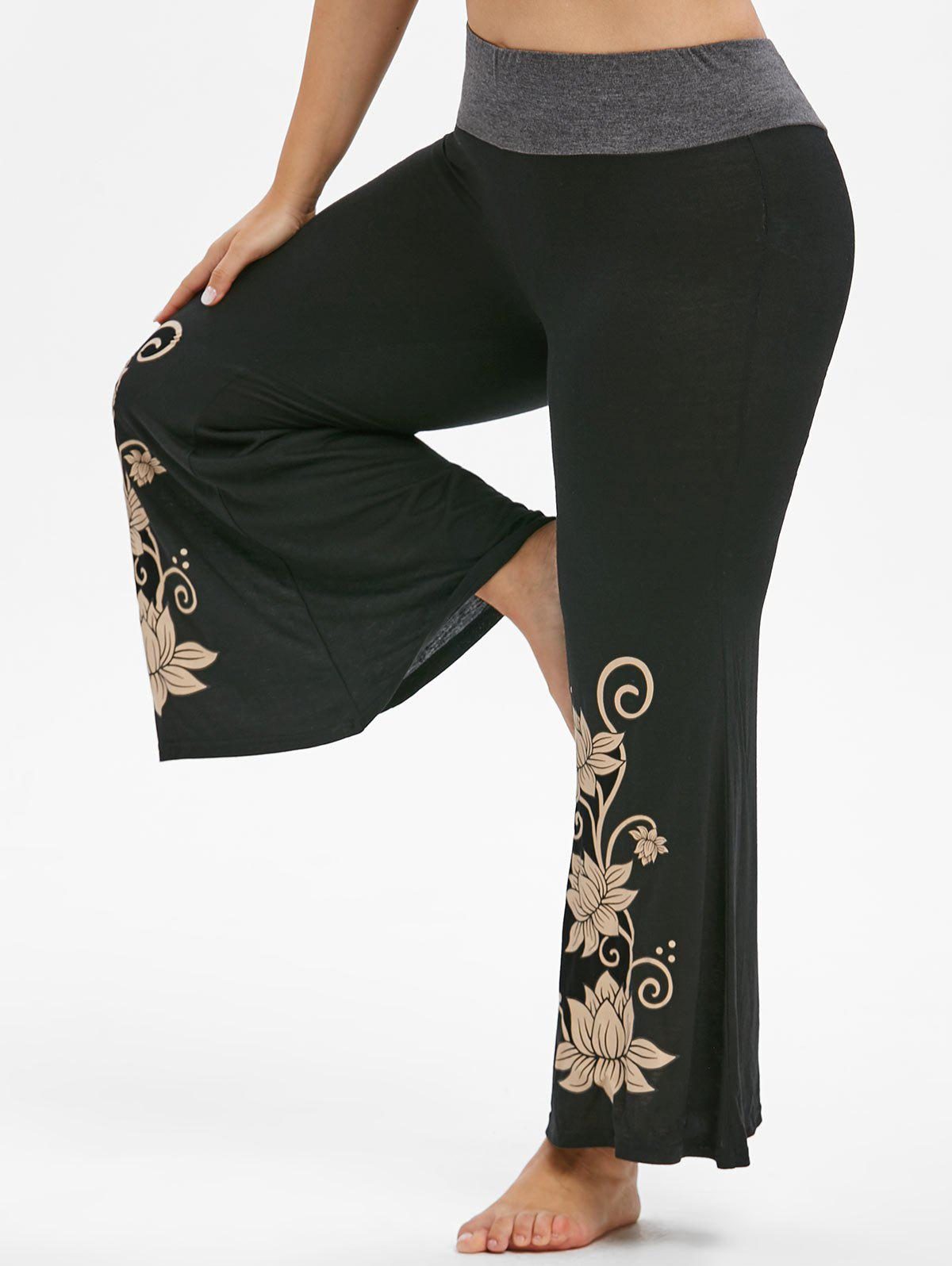 Marl Waist High Waisted Floral Plus Size Flare Pants - BLACK 2X