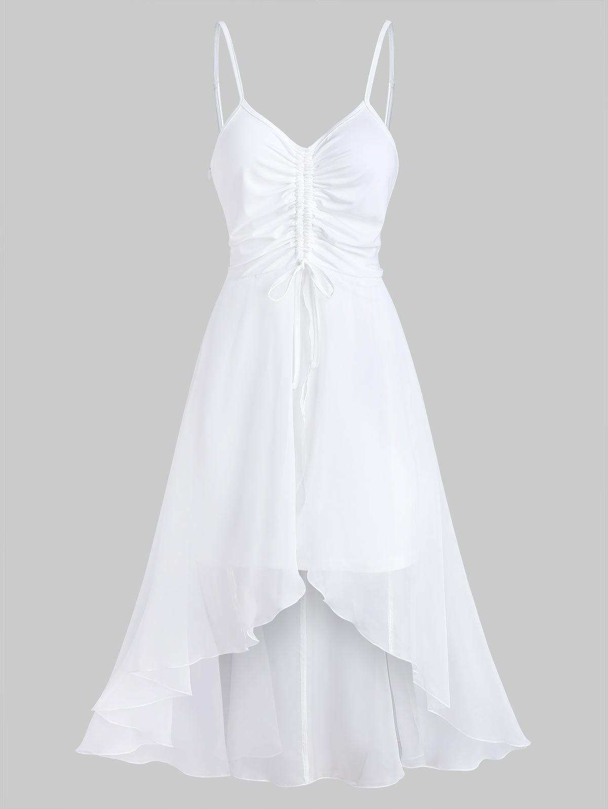 Chiffon Insert Cinched High Low Dress - WHITE XL