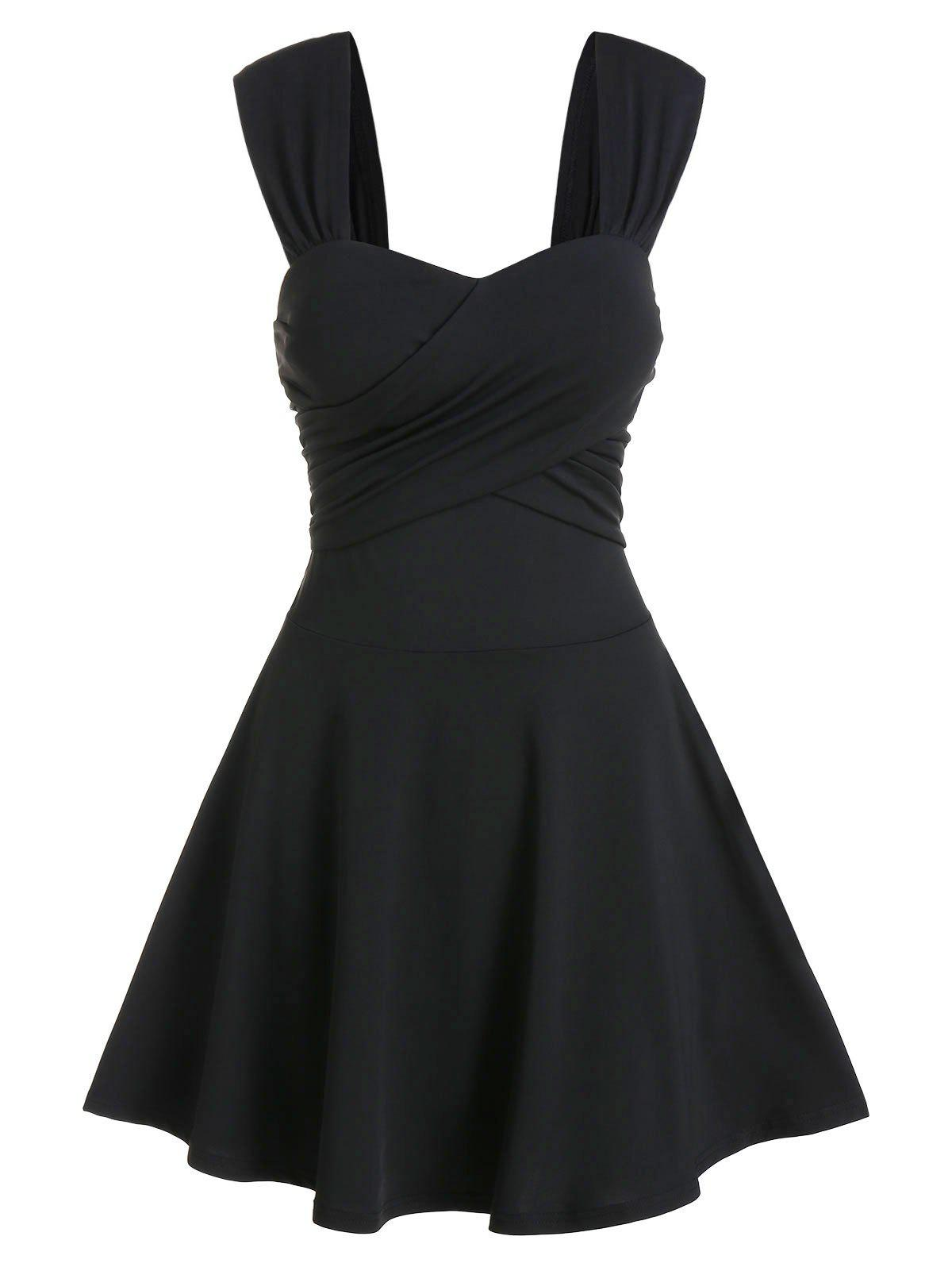 Sleeveless Crossover Flare Dress - BLACK 2XL
