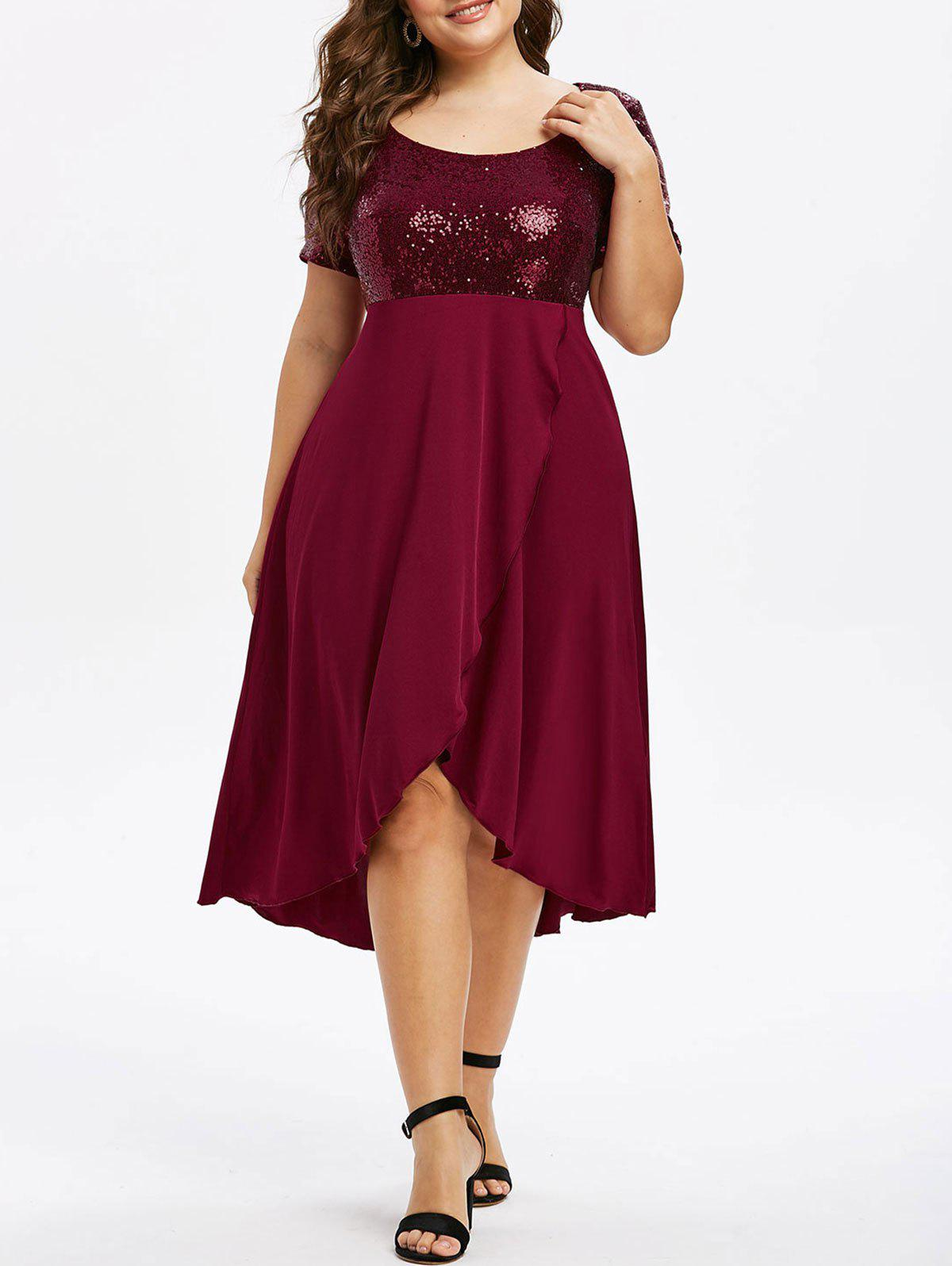 Plus Size Sequins High Low Splicing Dress - RED WINE 4X