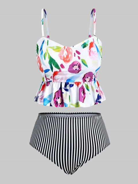 Plus Size Striped Floral Print Tankini Swimsuit