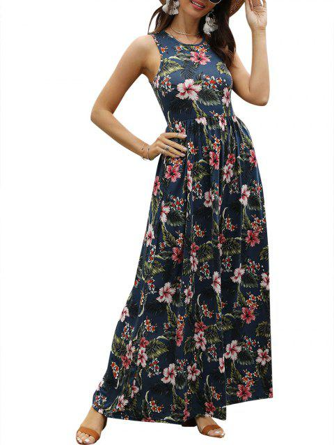 Floral Print Sleeveless Maxi Dress
