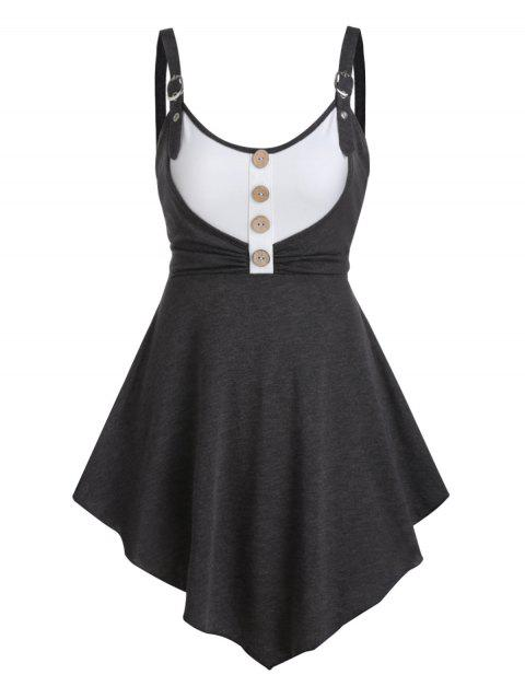 Button Ruched High Waist Tunic Tank Top