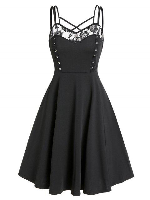 Crisscross Lace Insert Flare Dress
