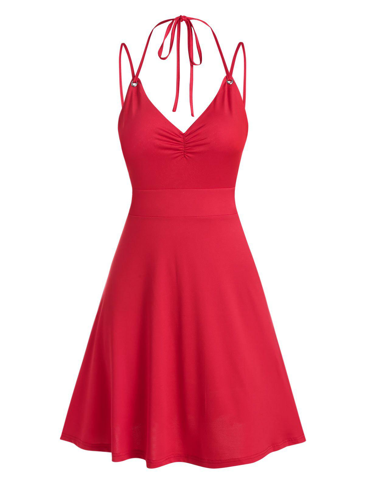 Strappy Open Back Criss-cross Dress - RED 3XL