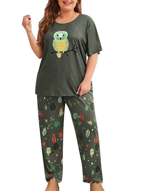 Owl Leaf Print Plus Size Pyjama Set - GREEN 3X