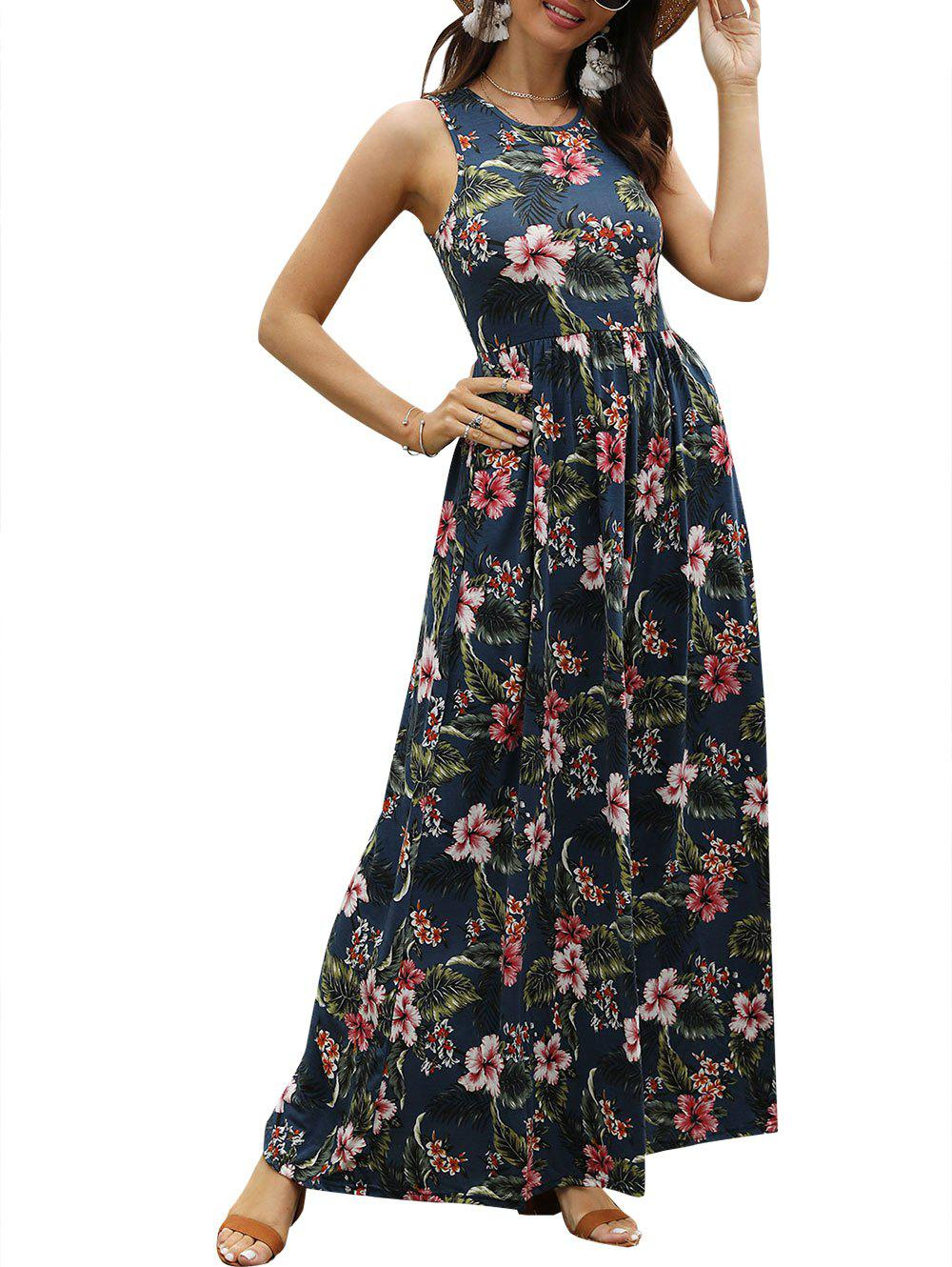 Floral Print Sleeveless Maxi Dress - MIDNIGHT BLUE XL