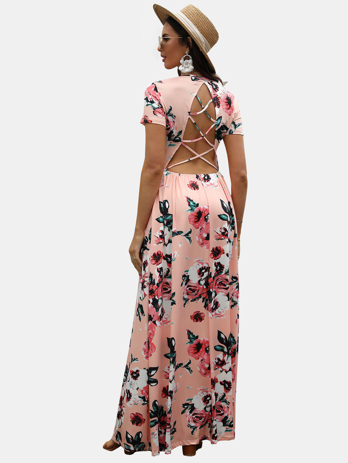 Floral Print Criss-cross Backless Maxi Dress - PINK M