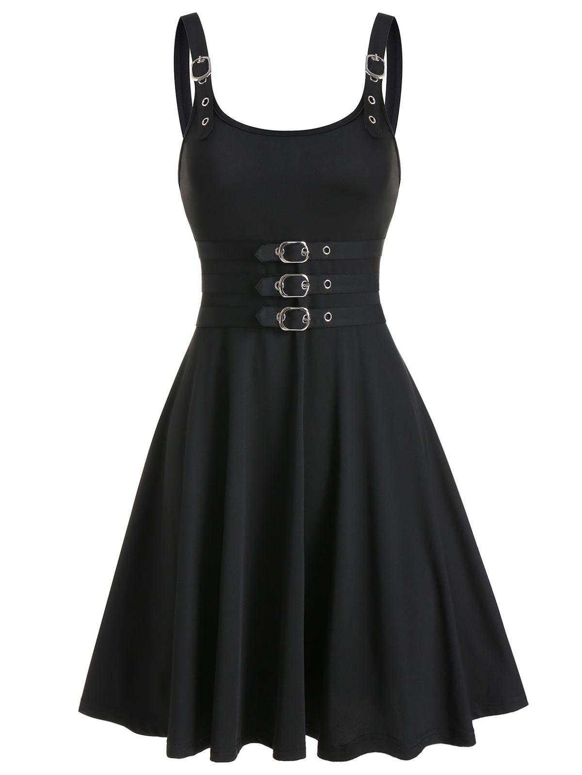 Buckles Square Neck Fit And Flare Dress - BLACK M