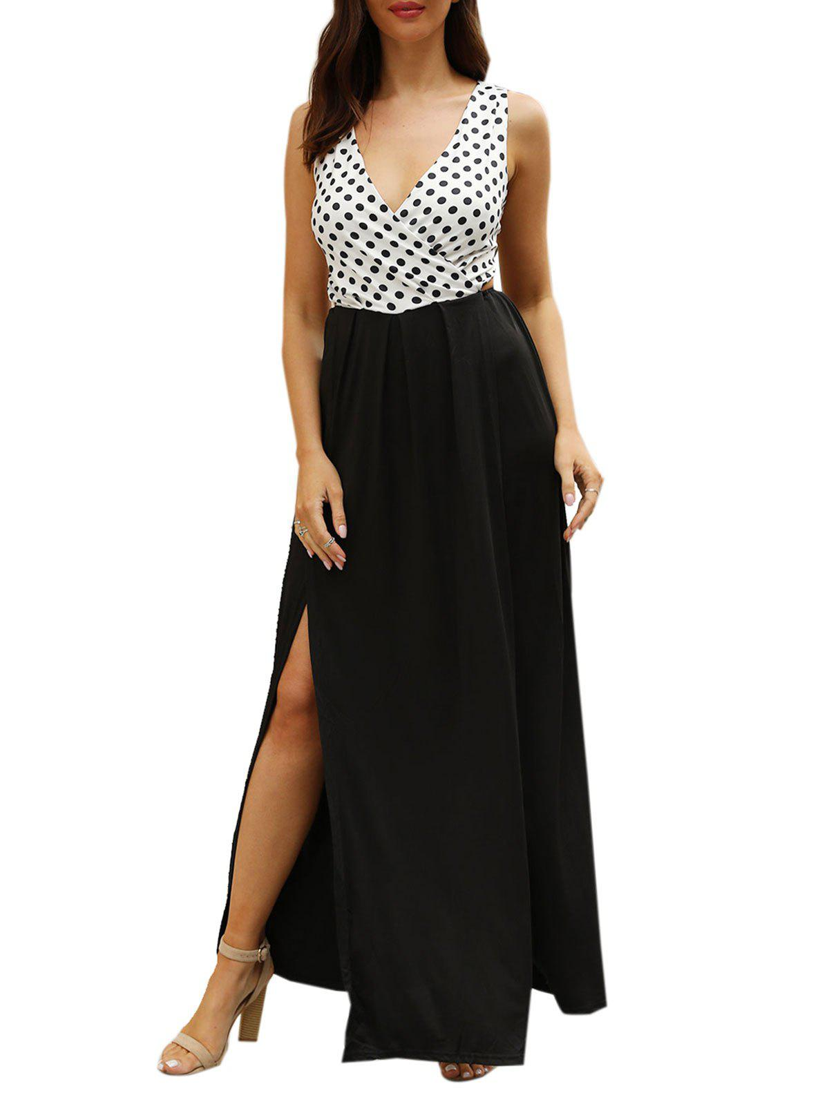 Polka Dot Print High Slit Cut Out Maxi Dress - BLACK XL