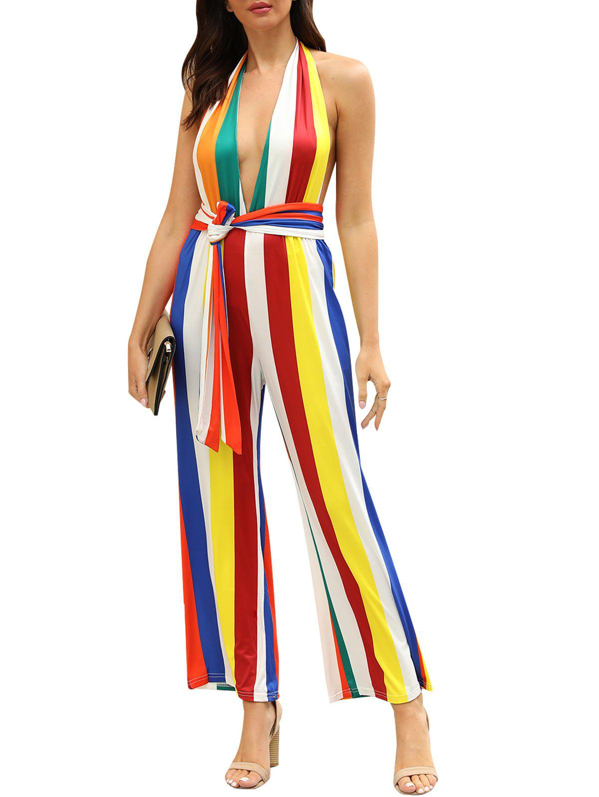 Stripes Roman Imprimer Halter Belted Jumpsuit - multicolor A L