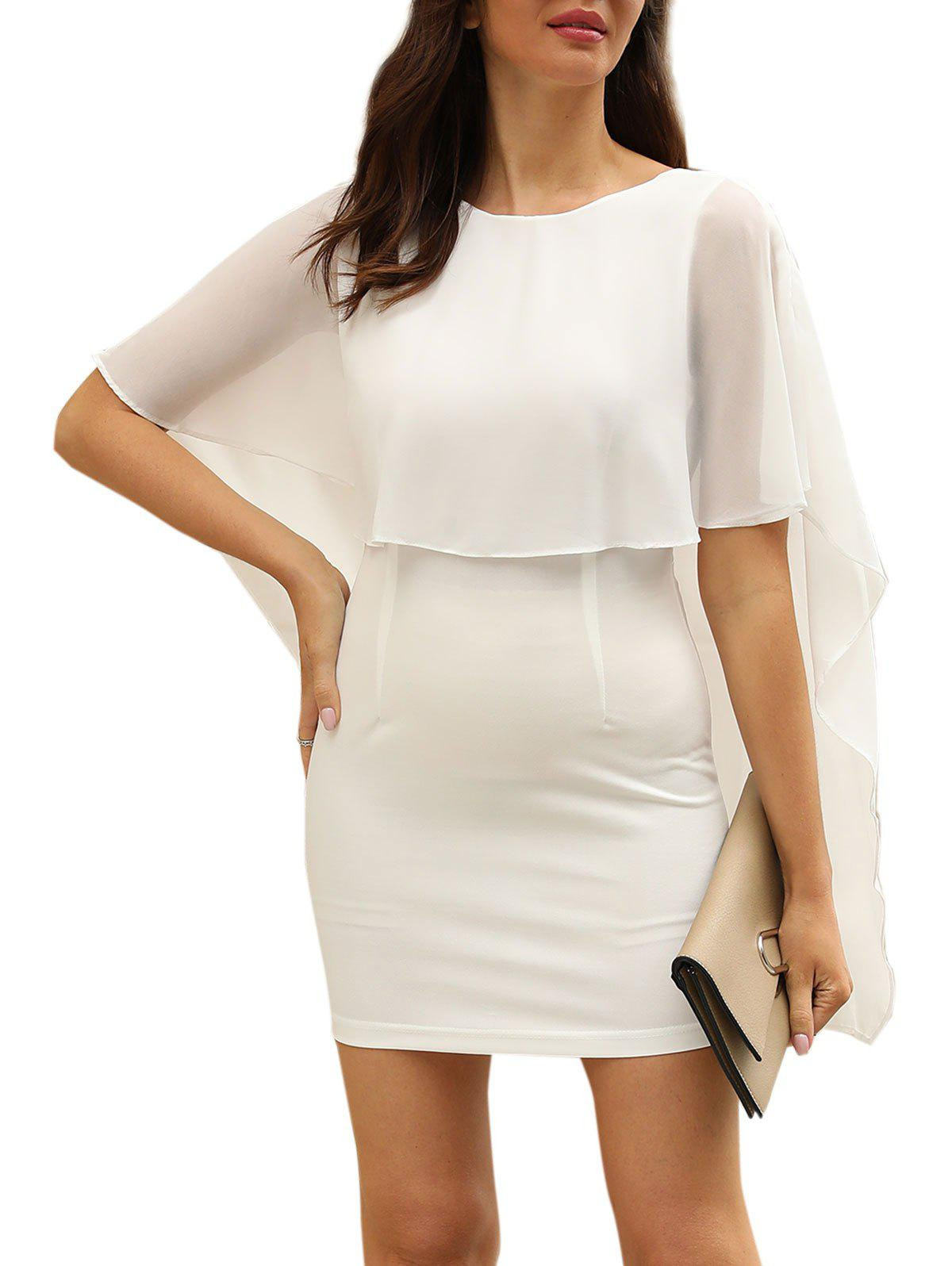 Open Back Cape Bodycon Dress - WHITE L