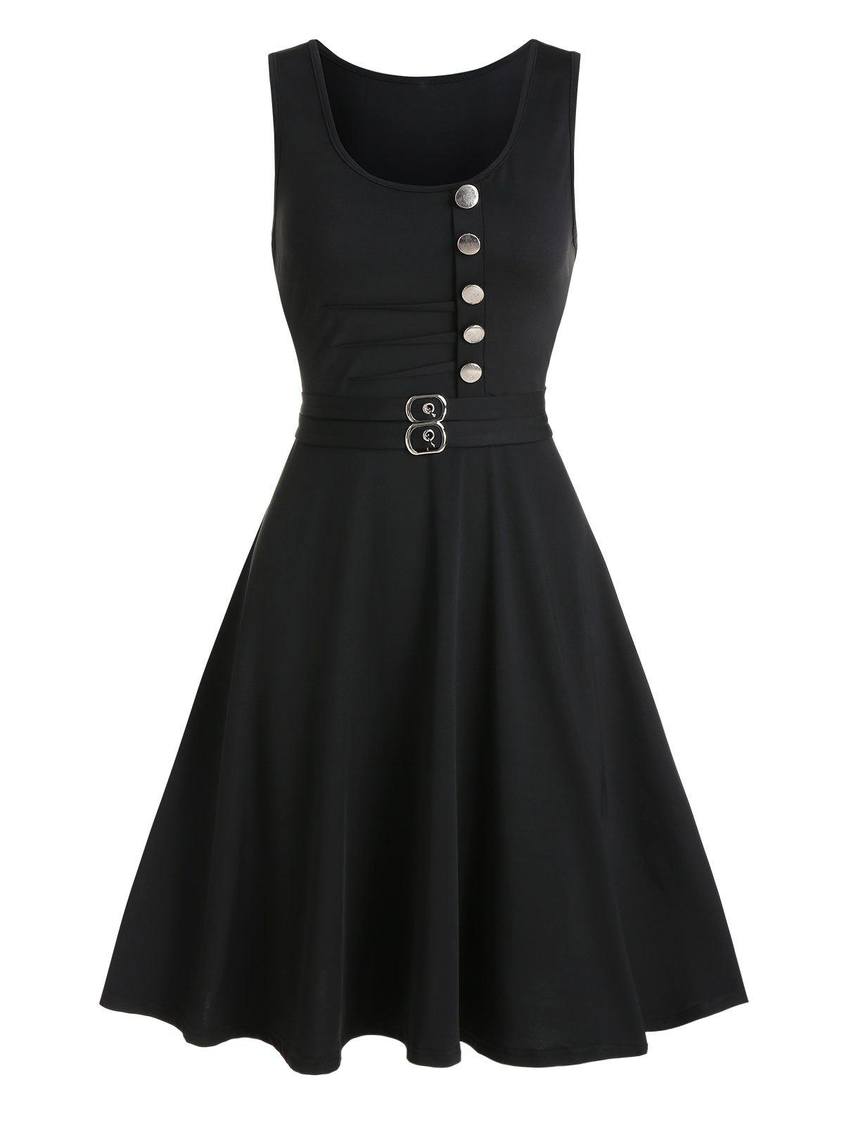 Button Buckle Embellished Fit And Flare Dress - BLACK 2XL