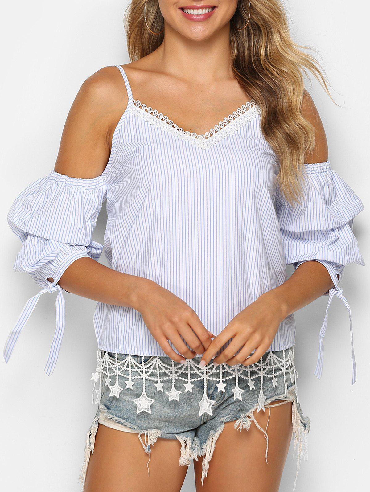 Striped Print Star Lace Trim Knotted Blouse - WHITE XL