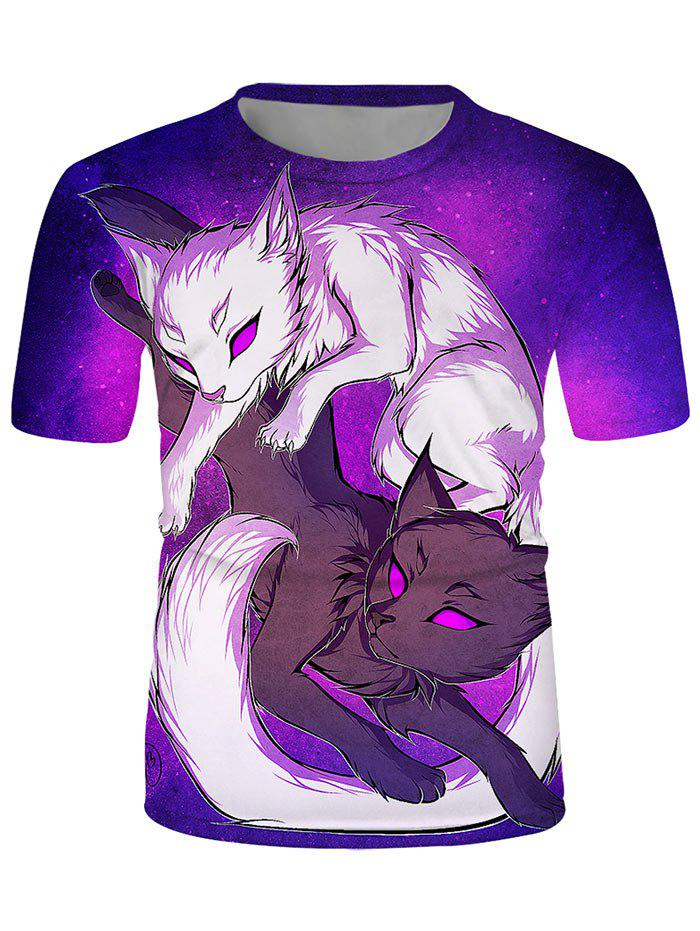 Yin Yang Wolf Graphic Crew Neck Lounge T Shirt - multicolor XL