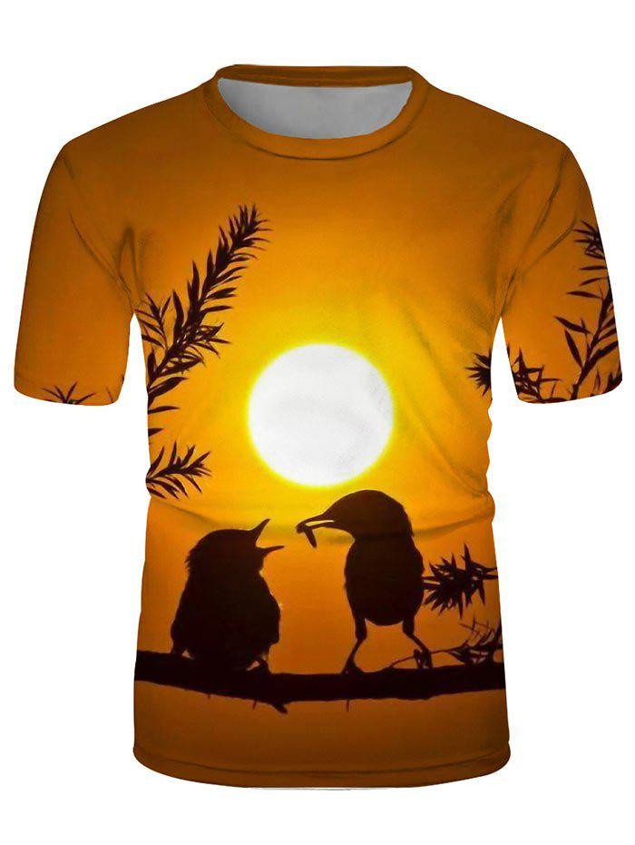Sunset Lounge Oiseaux Graphic ras du cou - multicolor 3XL
