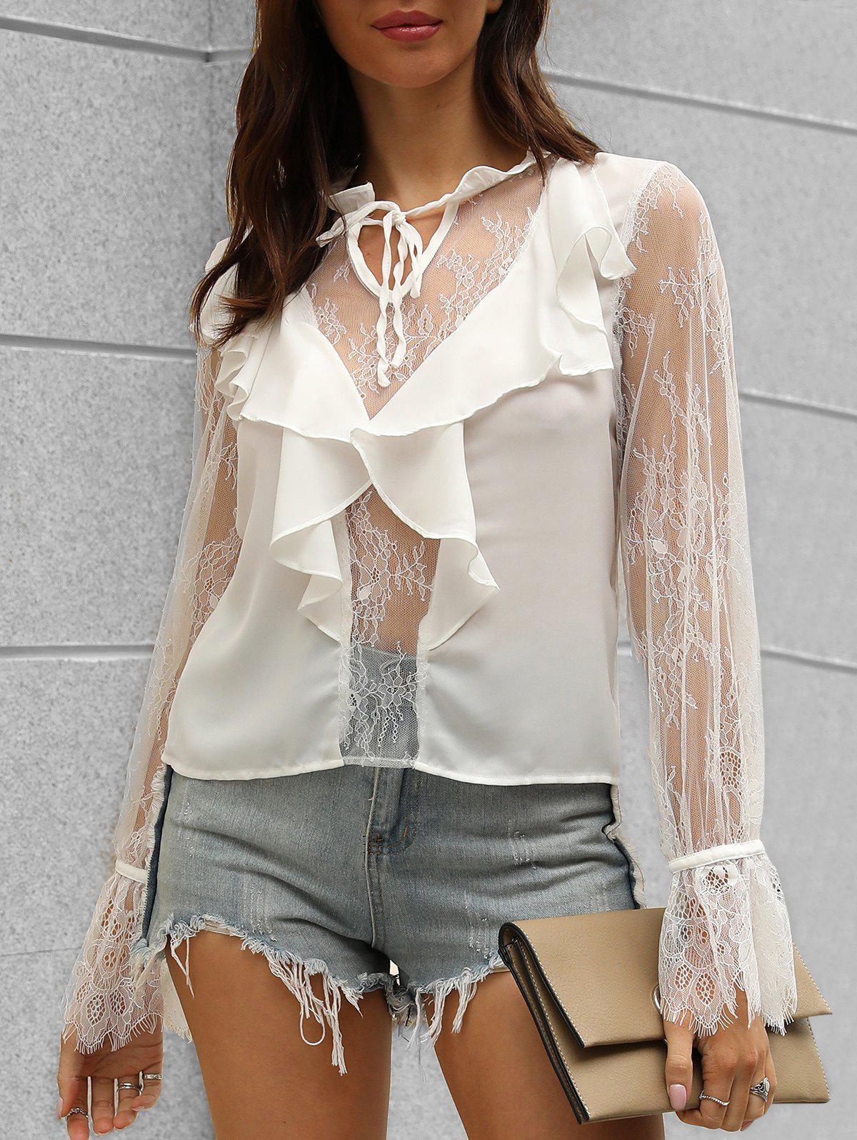 Poet Sleeve Lace Insert Notched Blouse - WHITE XL