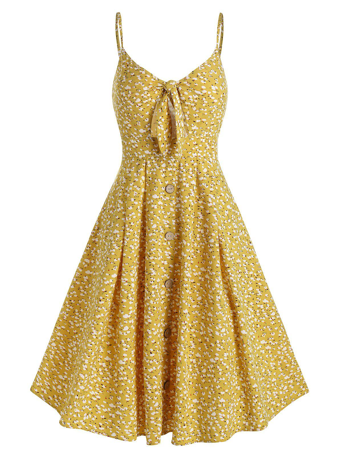 Tiny Floral Print Spaghetti Strap Knotted Dress - BRIGHT YELLOW M