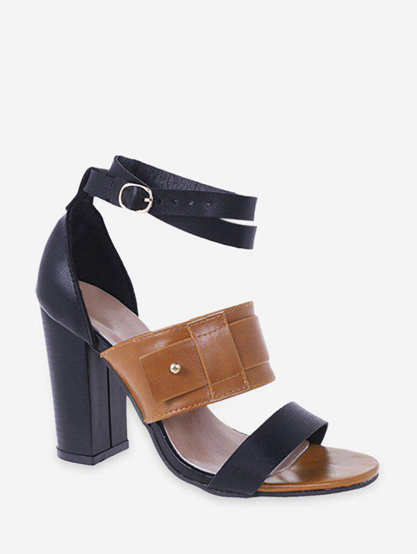 Faux Leather High Heel Ankle Strap Sandals - BROWN EU 41