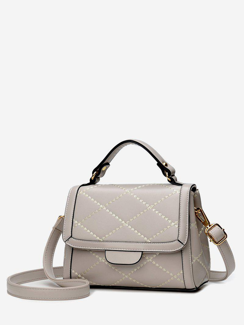 Minimalist Quilted Top Handle Leather Crossbody Bag - GRAY