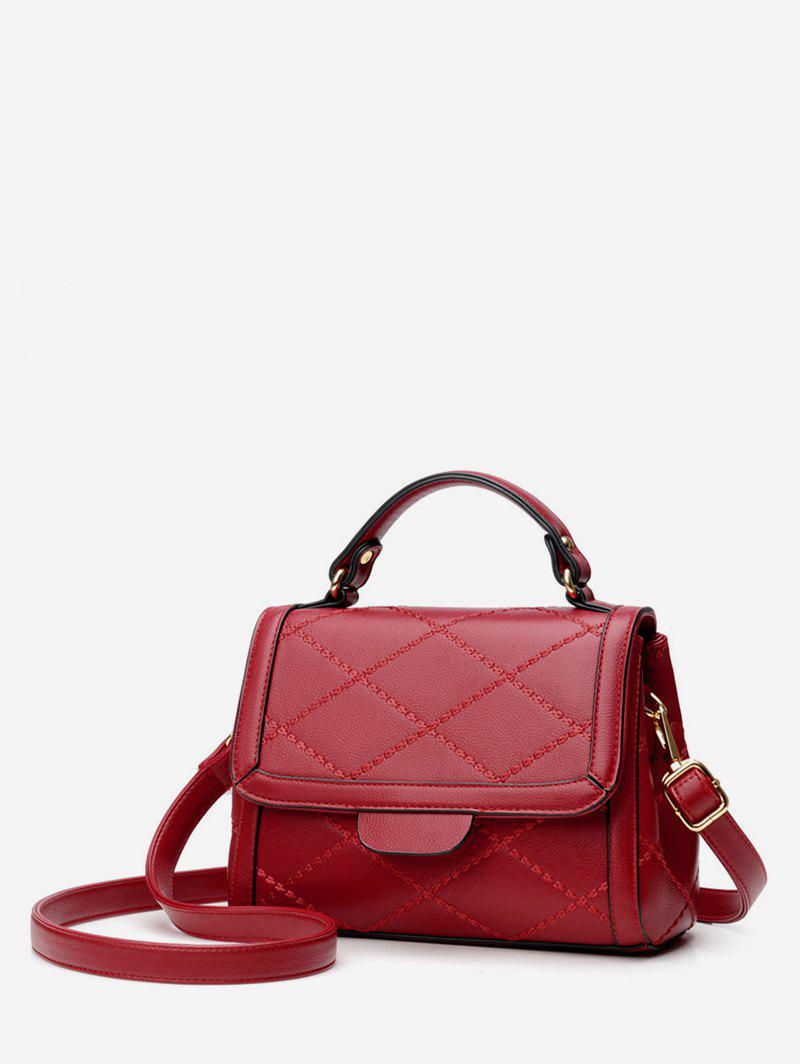 Minimalist Quilted Top Handle Leather Crossbody Bag - LAVA RED