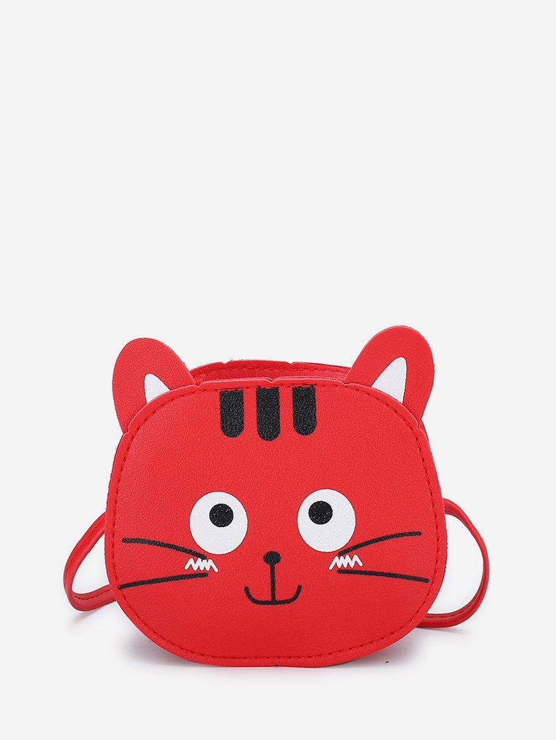 Cartoon Kitty Mini Leather Crossbody Bag - LAVA RED